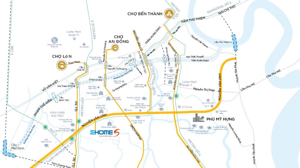 Vị trí Dự án Căn hộ Chung cư Ehome Mizuki Nam Long Bình Chánh